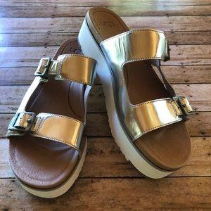 UGG Ardyne Metallic Silver Platform Sandals. NWOT